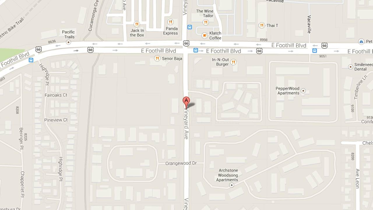 A map indicates the area near an apartment complex in the 8200 block of Vineyard Avenue in Rancho Cucamonga where a 2-year-old infant was pronounced dead Sunday, Oct. 20, 2013.