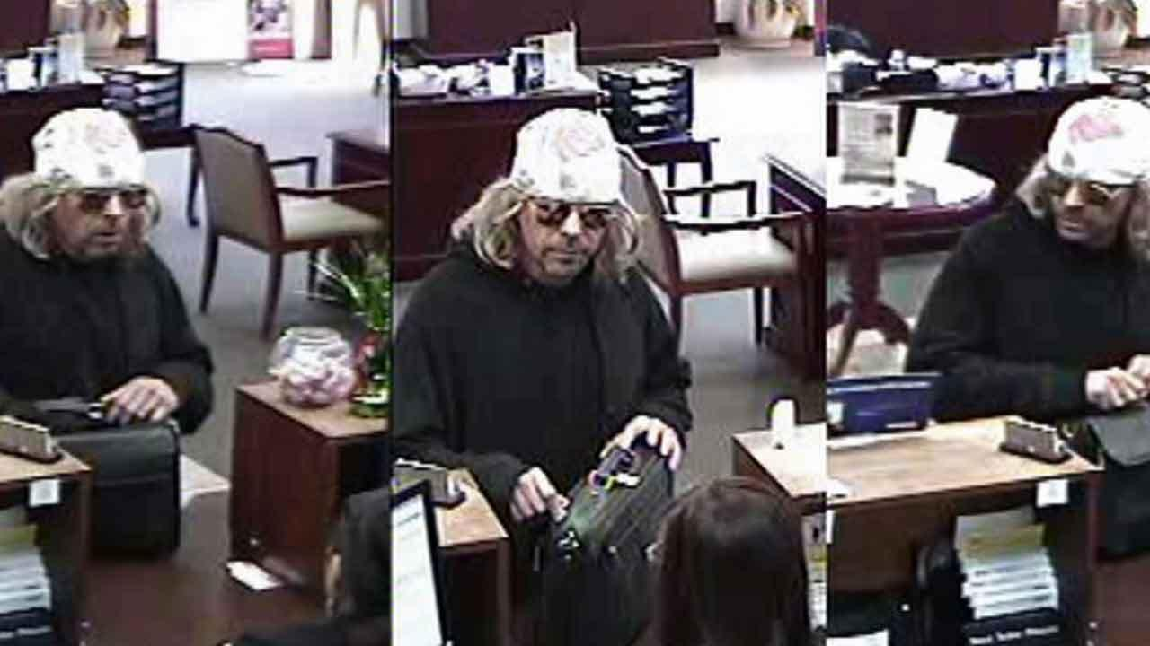 Surveillance video from a bank branch on the 7800 block of Highway 11 in La Quinta caught a robber wearing a blond wig on tape Saturday, Nov. 9, 2013.