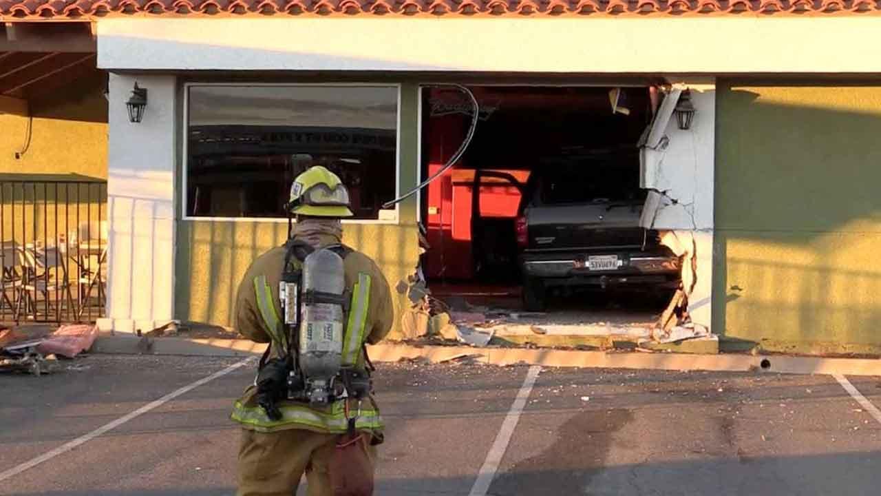 A vehicle slammed into Mariscos La Sirena on the 2900 block of North Perris Boulevard in Perris Sunday, Nov. 24, 2013.