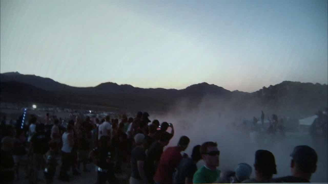 Eight people were killed and 12 others were injured when a truck competing in the California 200 race in the Mojave Desert sailed off a jump and flew into the crowd on Saturday, Aug. 14, 2010.