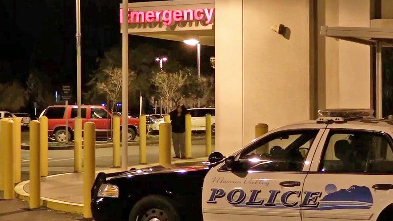 A Moreno Valley Police Department patrol vehicle is shown parked outside of the Riverside County Medical Center.