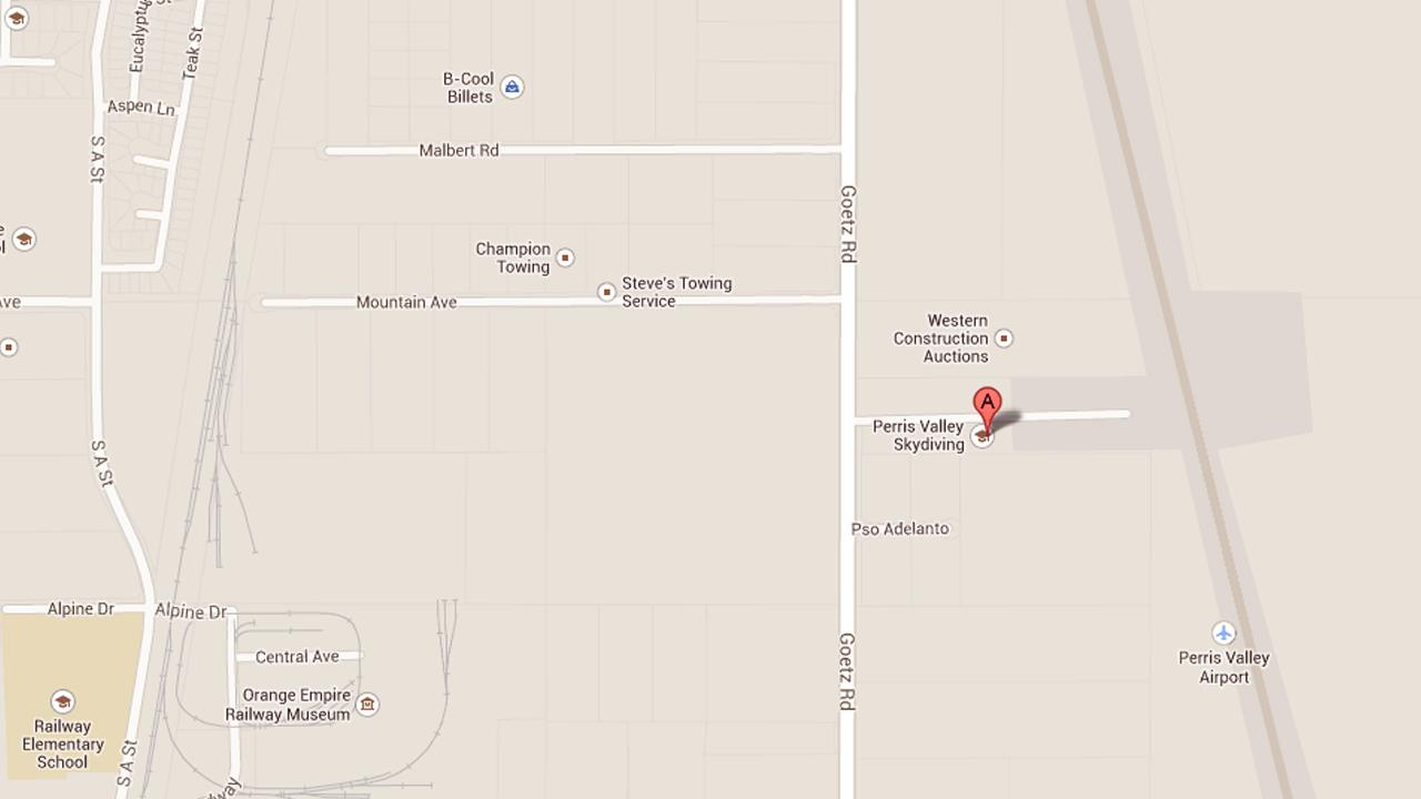 This image from Google Maps shows the location of Perris Valley Skydiving in Perris.