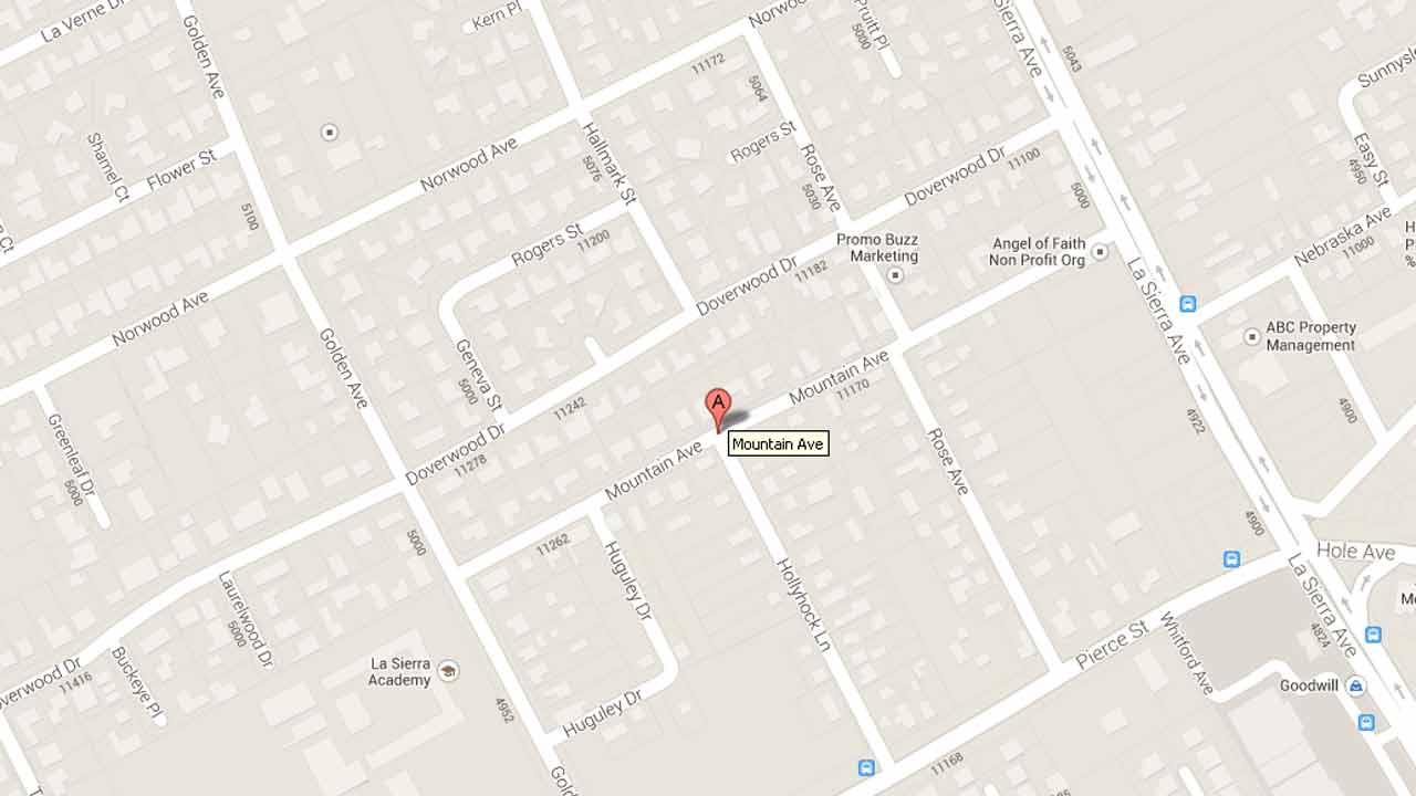 A map indicates the area near the 11100 block of Mountain Avenue in Riverside where 18-year-old Christian Cano was fatally stabbed Wednesday, Jan. 1, 2014.