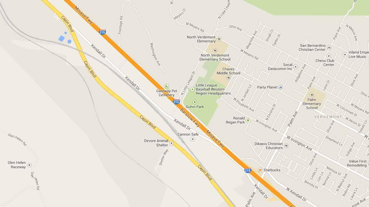 A map indicates the area near Little League Drive on the northbound 215 Freeway where a mans body was found Sunday, Feb. 16, 2014.