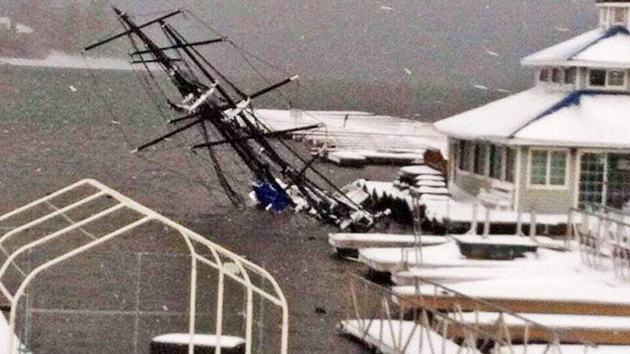 The Big Bear Pirate Ship is shown after recent Southern California storms sank the vessel.