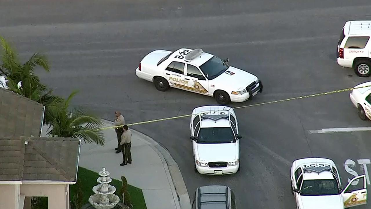 San Bernardino sheriffs deputies taped off an area in Chino Hills where a deputy-involved shooting occurred on Friday, March 28, 2014.