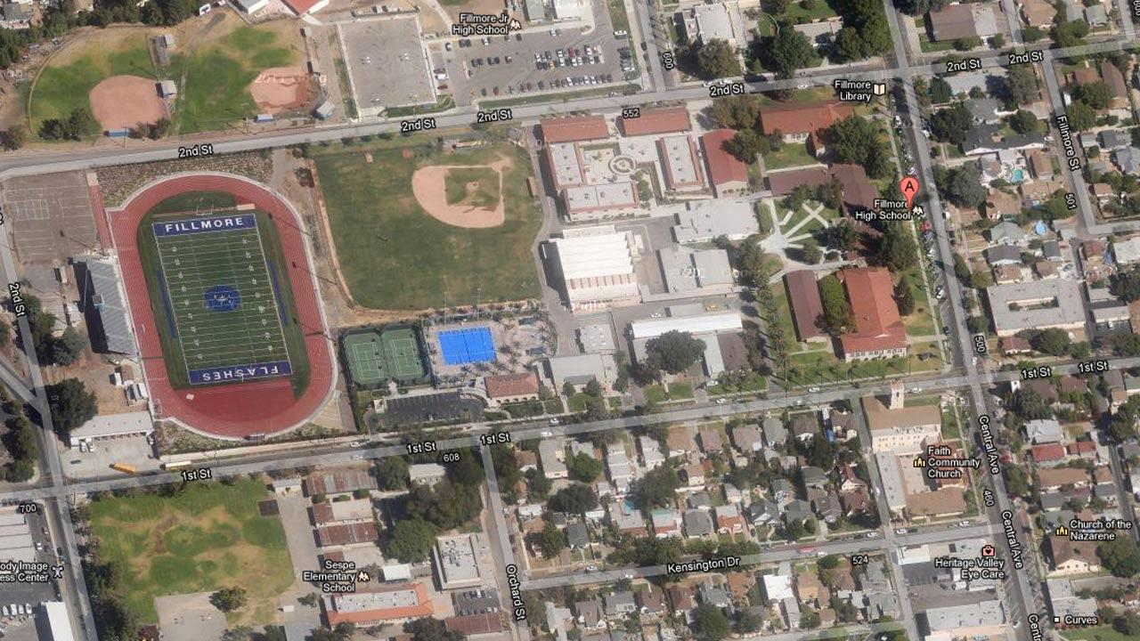 Fillmore High School is seen in this satellite image from Google.