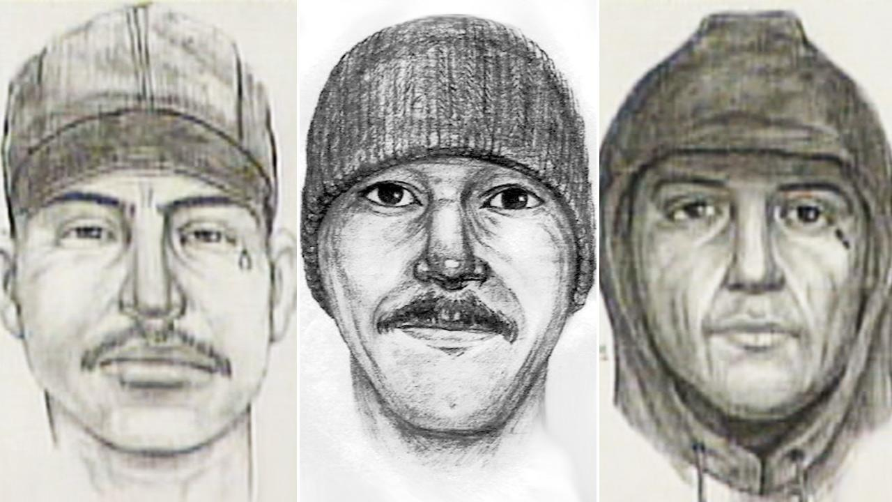 Police composite sketches show the suspect known as the Teardrop Rapist,  who has been linked to nearly three dozen assaults in since 1996.