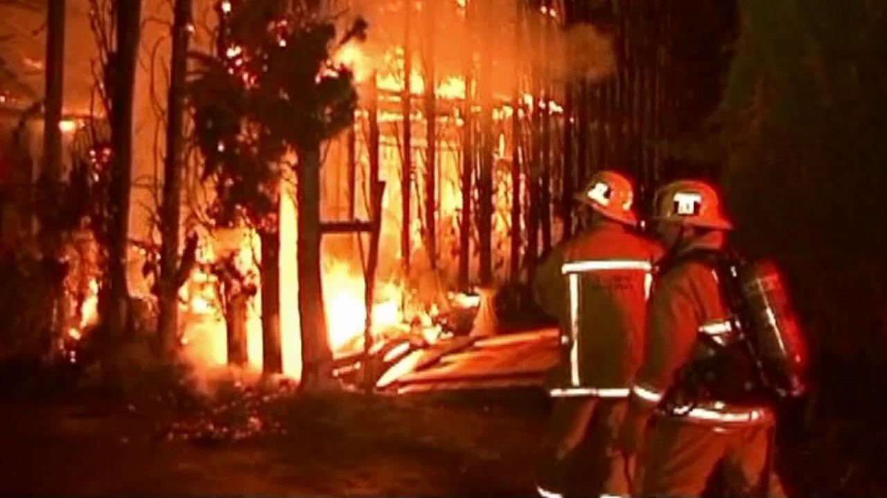 A fire broke out at an apartment building that was under construction in Canoga Park on Saturday July 7, 2012.