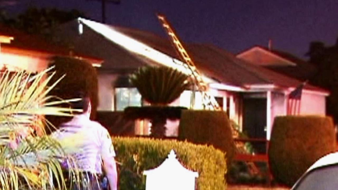 A fire broke out at a home on the 11100 block of Wheelock Street in Whittier on Sunday, July 8, 2012.