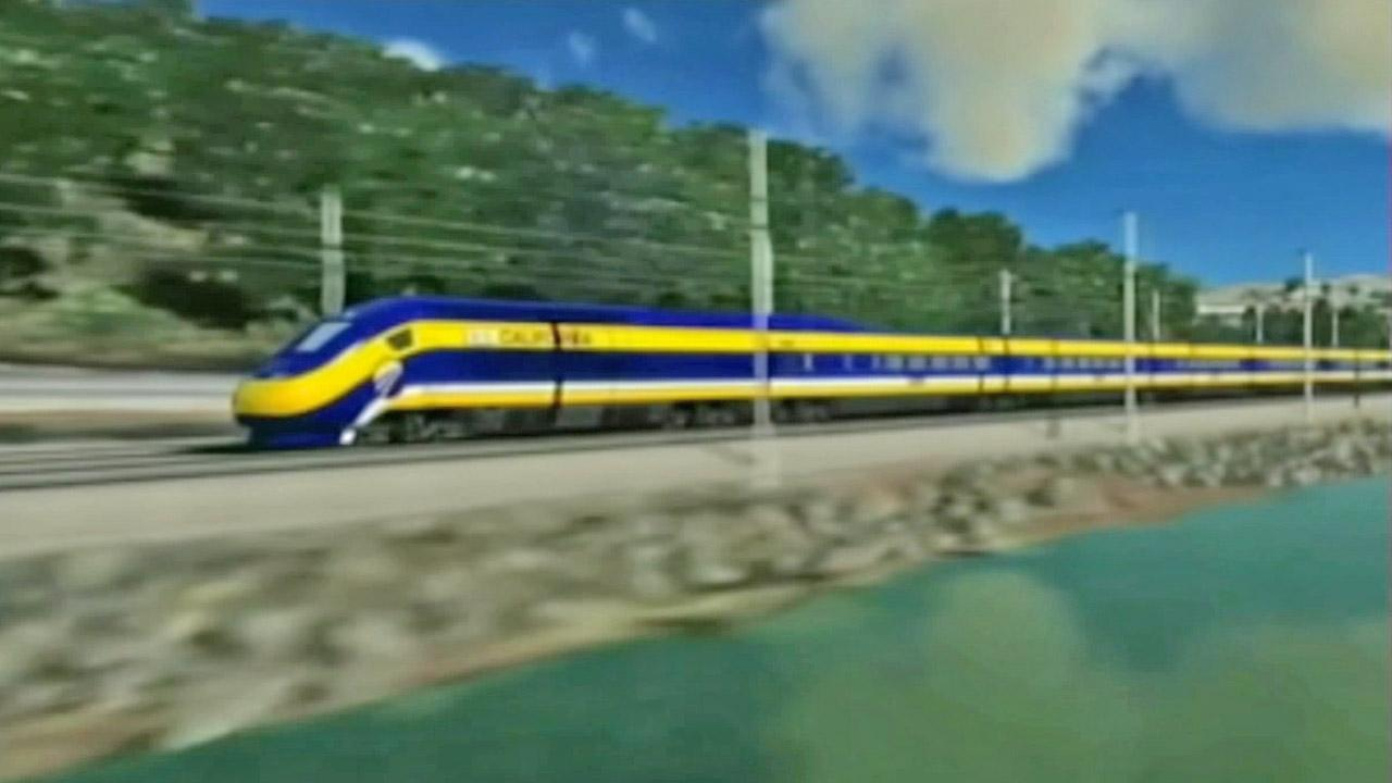 A rendering of a train from Californias High-Speed Rail Project is shown in this file photo.