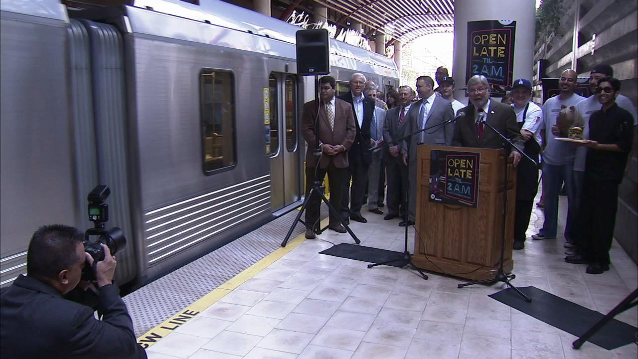 Metro and city officials announced on Friday, July 27, 2012, the beginning of expanded late-night rail service on weekends.