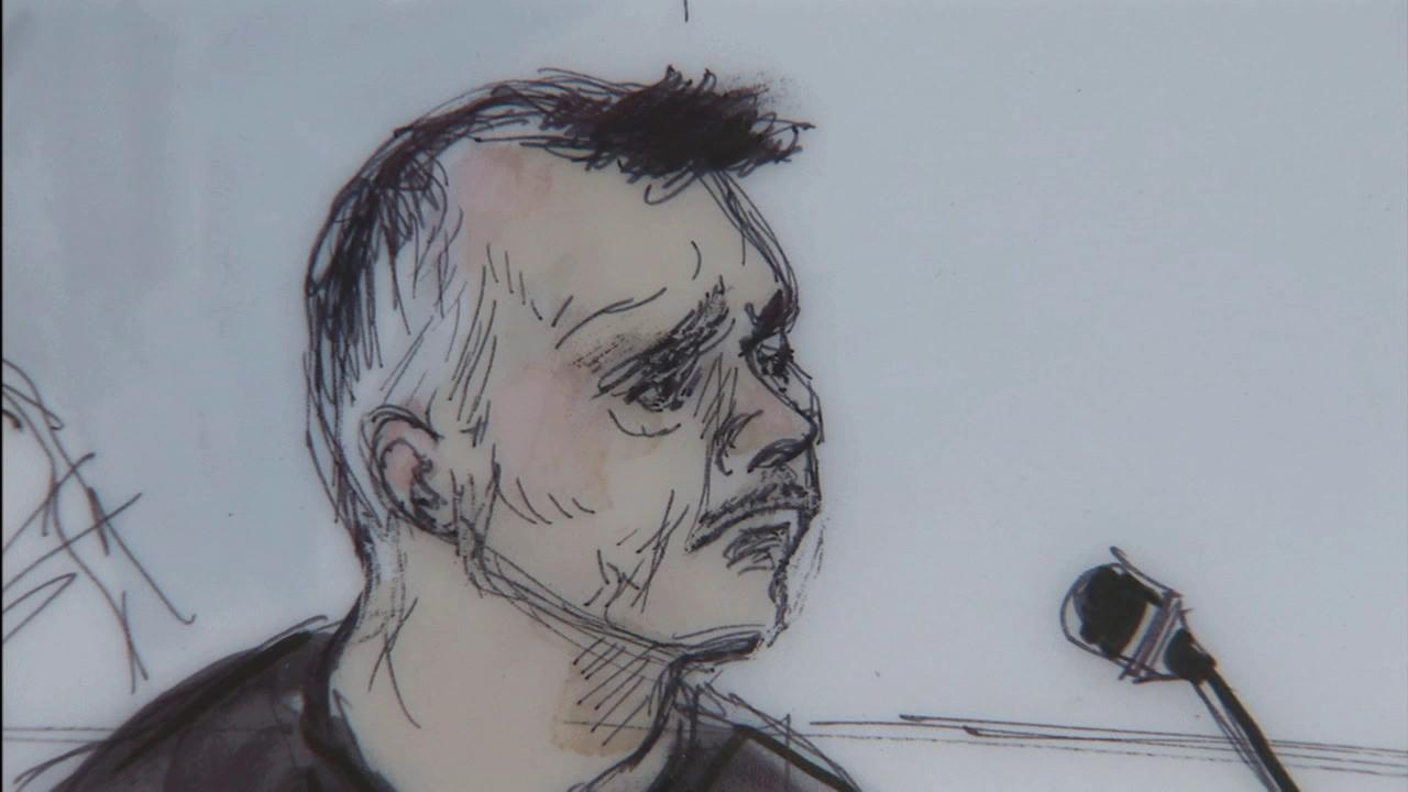 Angel Perales, former Cudahy city manager, is seen in this courtroom sketch on Tuesday, July 31, 2012.