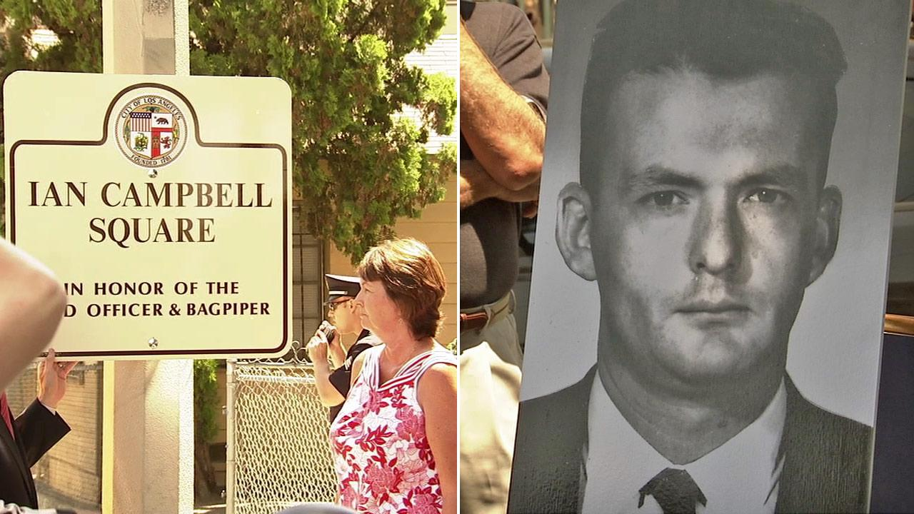 People gather at a street dedication in honor of LAPD Officer Ian Campbell on Friday, Aug. 10, 2012. Campbell, seen in the above photo, 1963 murder became the subject of the famous Joseph Wambaugh novel, The Onion Field.