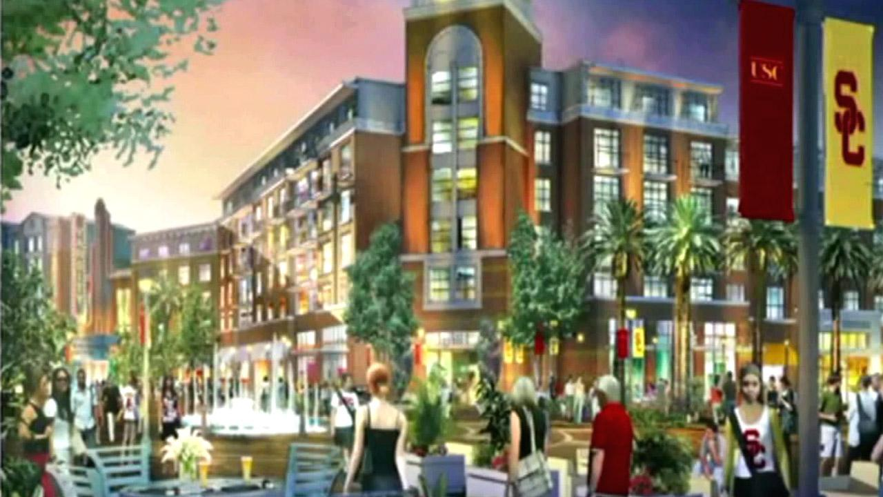An artists conception of part of the University of Southern Californias proposed $900 million redevelopment project, University Village.