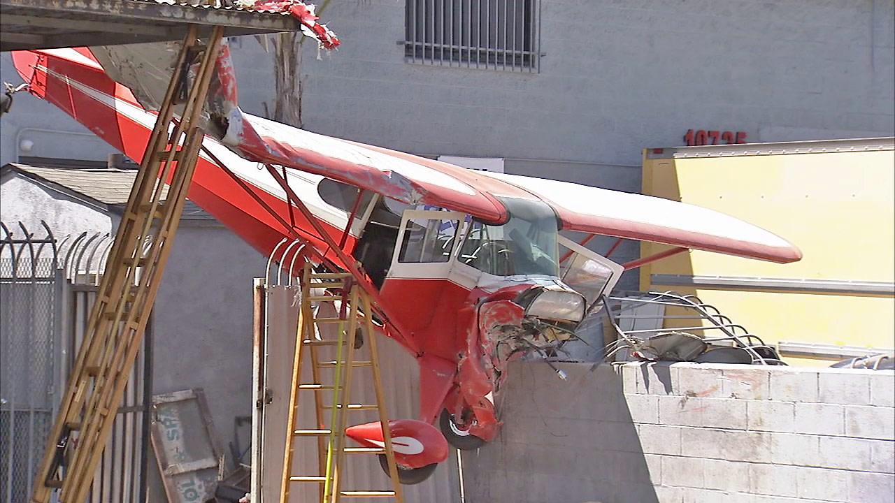 A small plane is seen after it crashed in Pacoima on Saturday, August 25, 2012. The two people on-board survived.