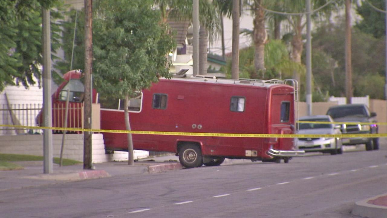 A man drove a recreational vehicle straight into the side of a building in Carson on Wednesday, Aug. 29, 2012. The driver was shot and killed by a sheriffs deputy.