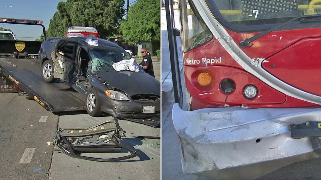 These side-by-side images show a car and a Metro bus involved in a collision on Venice Boulevard and Spaulding Avenue on Sunday, Sept. 2, 2012.