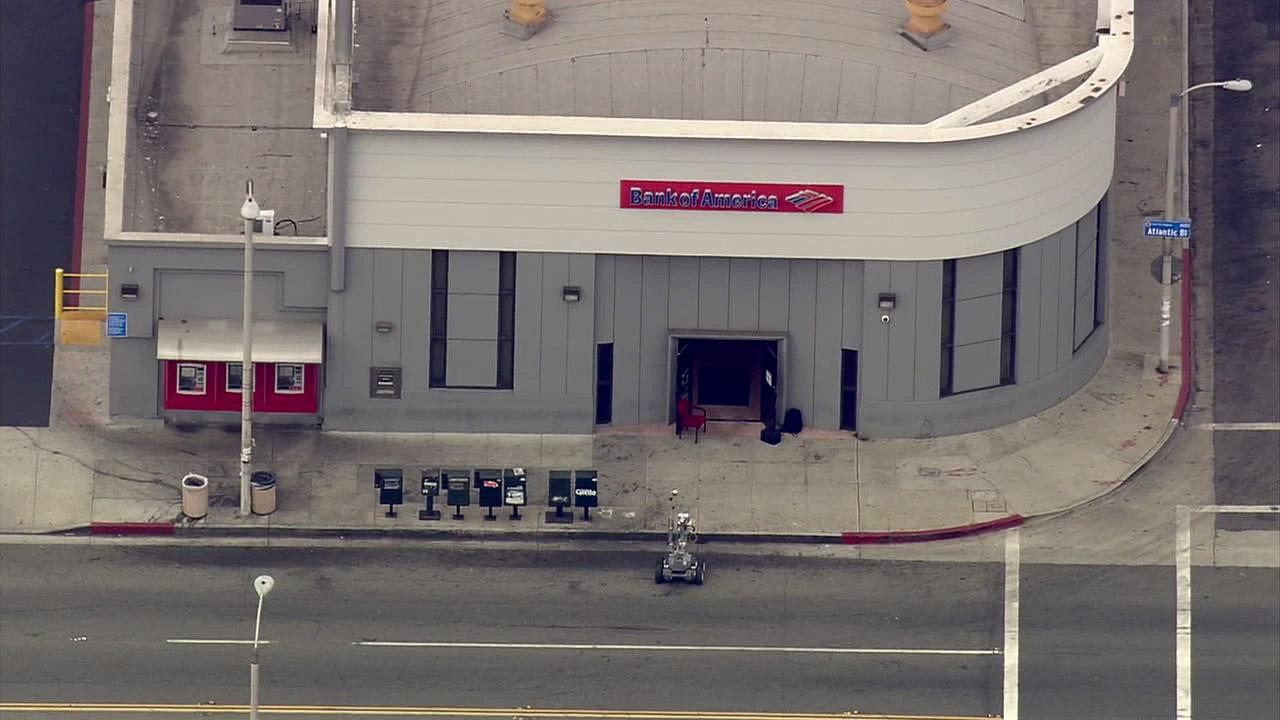 The sheriffs department robot was sent to the Bank of America to inspect a device following a bank robbery in East Los Angeles on Wednesday, Sept. 5, 2012.