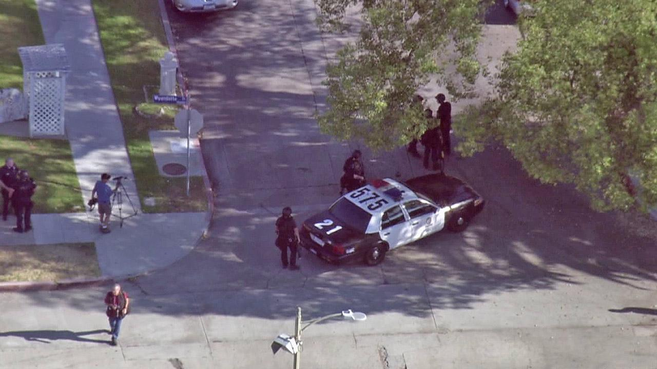 An LAPD patrol vehicle is shown near the scene of a SWAT standoff in Canoga Park on Thursday, Sept. 6, 2012.