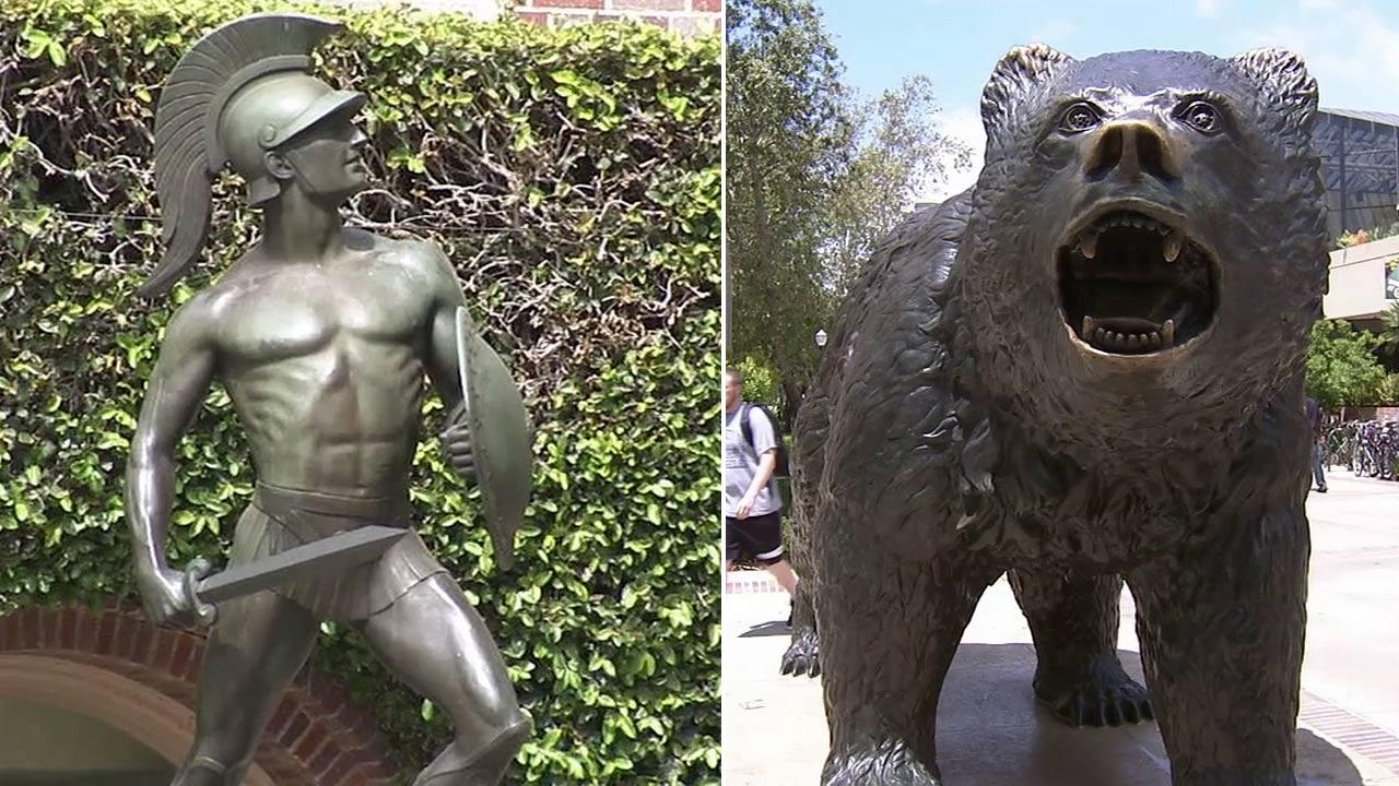 Statues are seen on the USC and UCLA campuses in this undated photo.