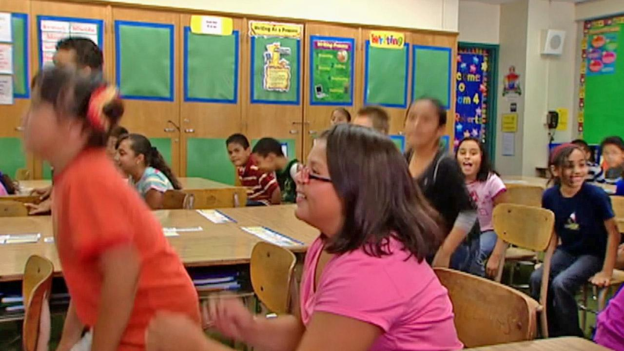 Students at Cleminson Elementary School in Temple City participate in the JAMmin Minute, a minute of fitness, in this photo from Sept. 2012.