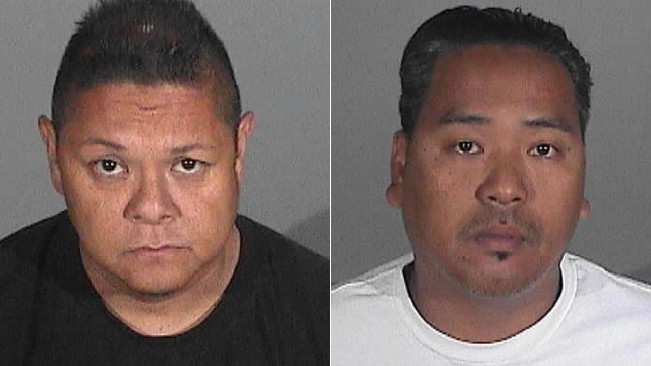 Jay Jeffrey Nieto, 45, (left) and Wilmer Bolosan Cadiz, 40, (right) were arrested in connection to a $10 million art heist in Santa Monica.