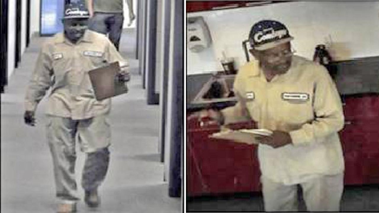 Glendale Police released photos of an office thief as he walked into Arecont Vision allegedly disguised as a contractor.