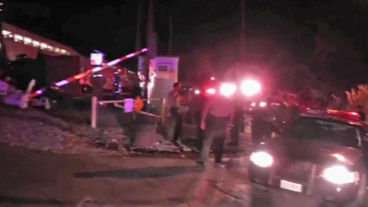 Emergency crews were at the scene of a crash between a Metrolink train and a semi-truck in Newhall Saturday night, October 6, 2012.