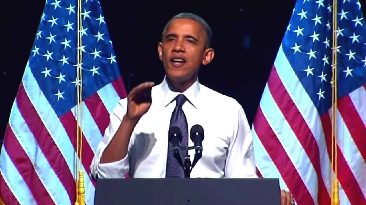 President Barack Obama speaks during a fundraising event at the Nokia Theatre in downtown Los Angeles on Sunday, Oct. 7, 2012.