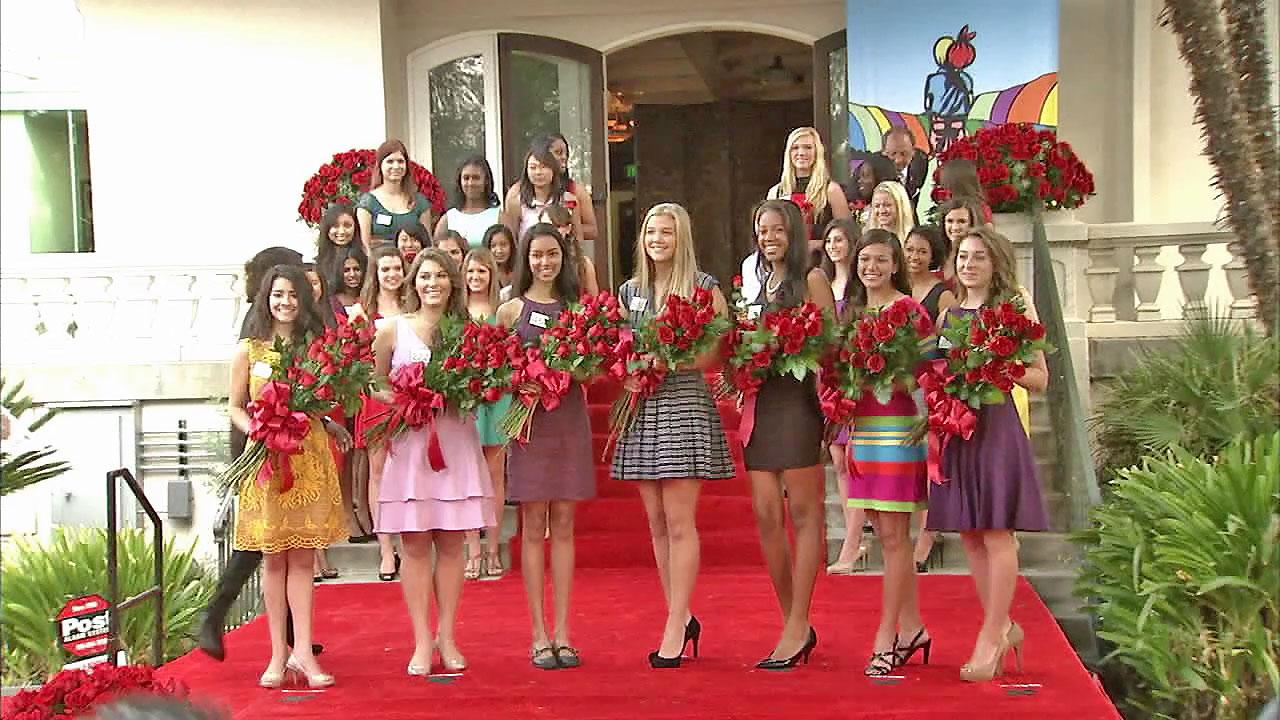 The seven members of the 2013 Rose Court are seen on Monday, Oct. 7, 2012.