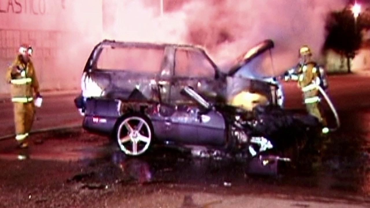 Street race ends in fiery crash in East LA
