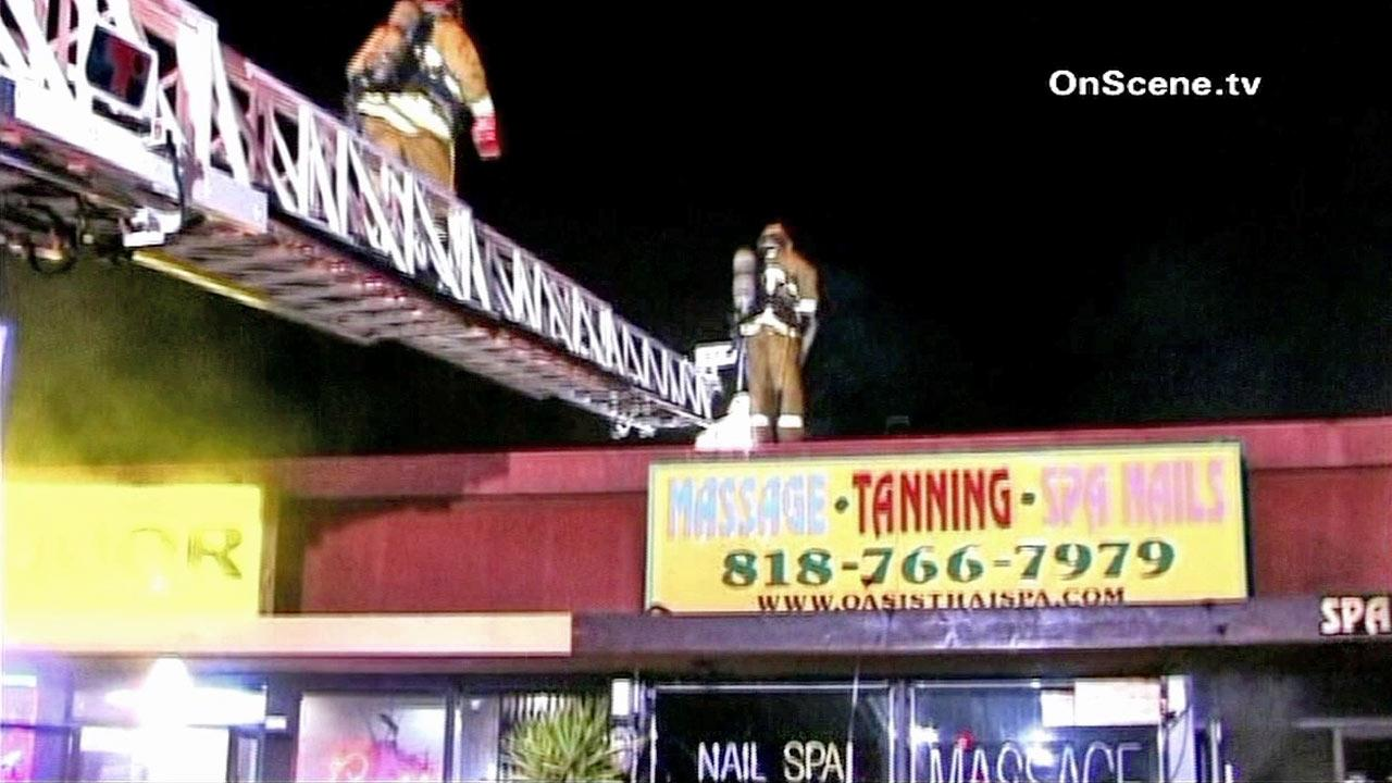 The cause of a fire at a massage parlor along the 4400 block of Laurel Canyon Boulevard in Studio City is under investigation.