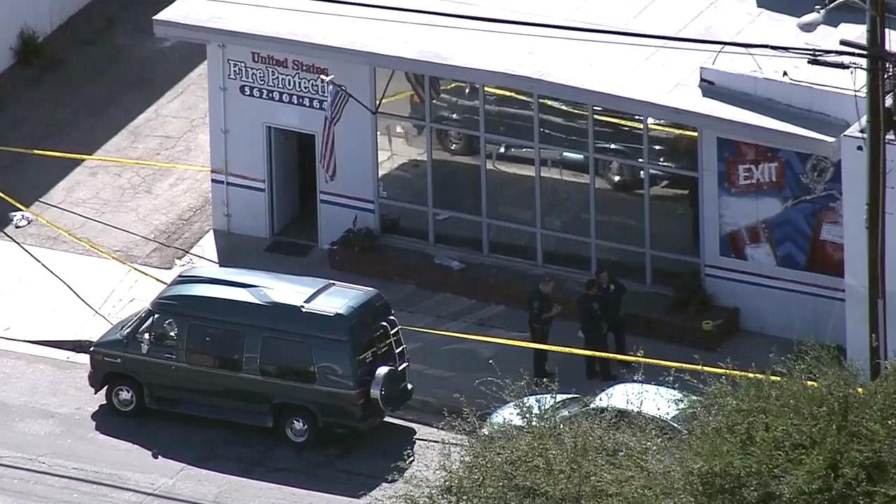 Police investigate a fatal shooting at United States Fire Protection in the 8700 block of Cleta Street in Downey on Wednesday, Oct. 24, 2012.