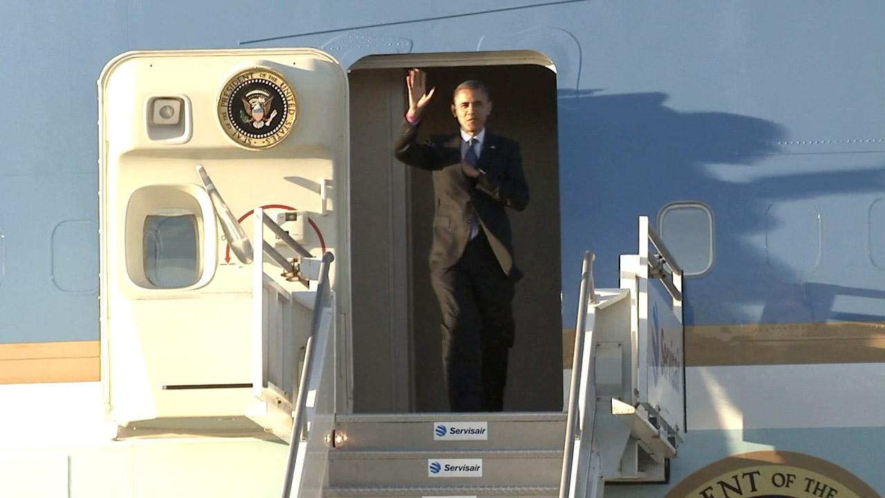 President Barack Obama arrives at Los Angeles International Airport for a quick visit Wednesday, Oct. 24, 2012.
