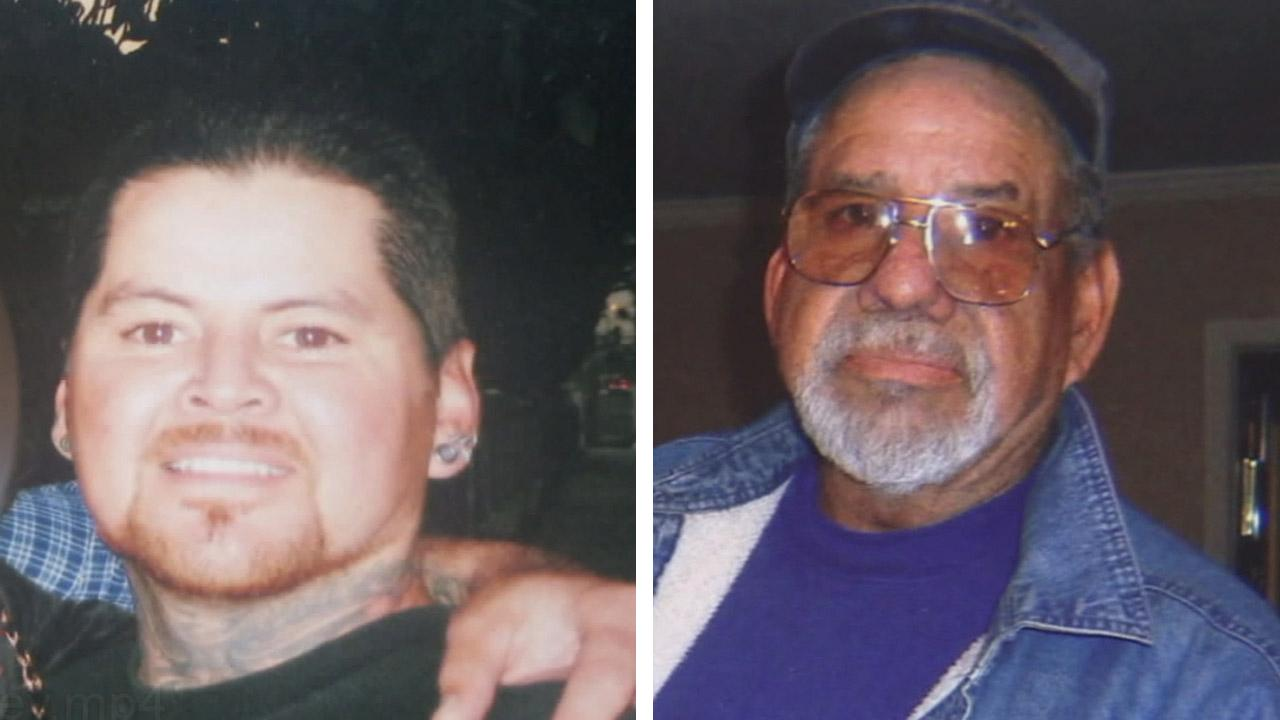 Police are looking for answers in the shooting death of 48-year-old Joey Telles, seen on the left. Telles was shot to death outside his Whittier home, nearly two months after his 71-year-old father Joseph Telles, seen on the right, was also gunned down.