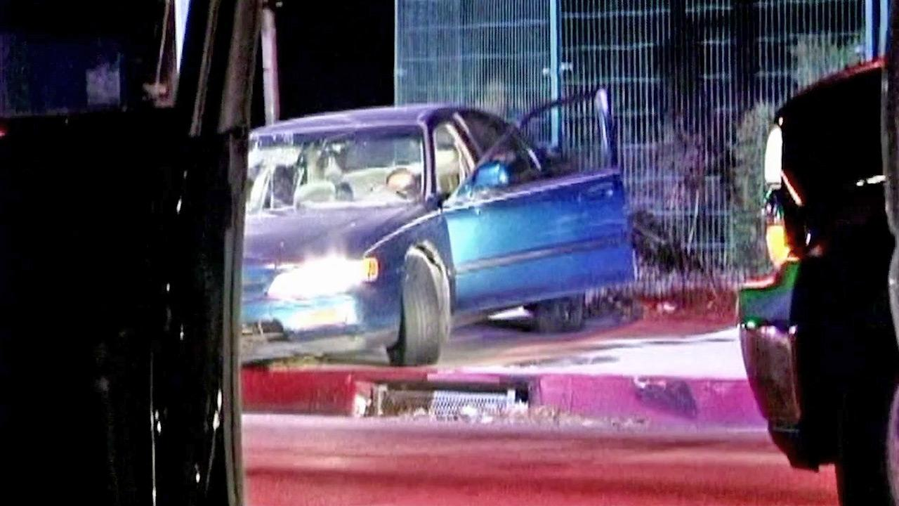 A car is seen after it was stopped by the PIT maneuver following a pursuit in the Valley on Monday, Oct. 29, 2012. The driver was suspected of driving under the influence.