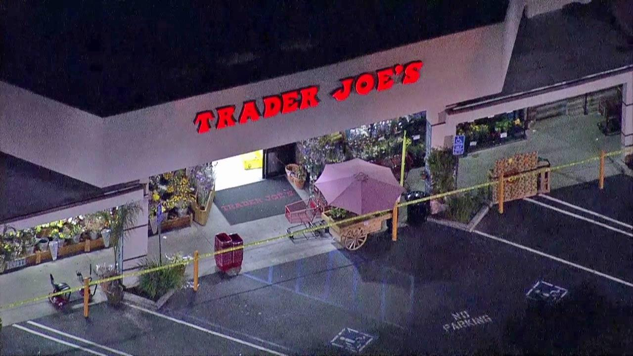 Authorities are searching for a suspect who tried to run down a Los Angeles police officer in a Trader Joe parking lot located at 14119 Riverside Drive in Sherman Oaks on Oct. 30, 2012.