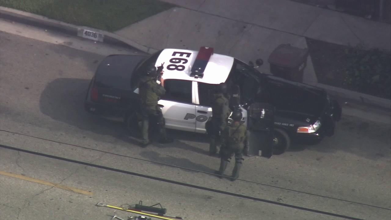 A SWAT team responded to a barricade situation on Gilman Road south of Ramona Boulevard in El Monte on Thursday, Nov. 1, 2012.