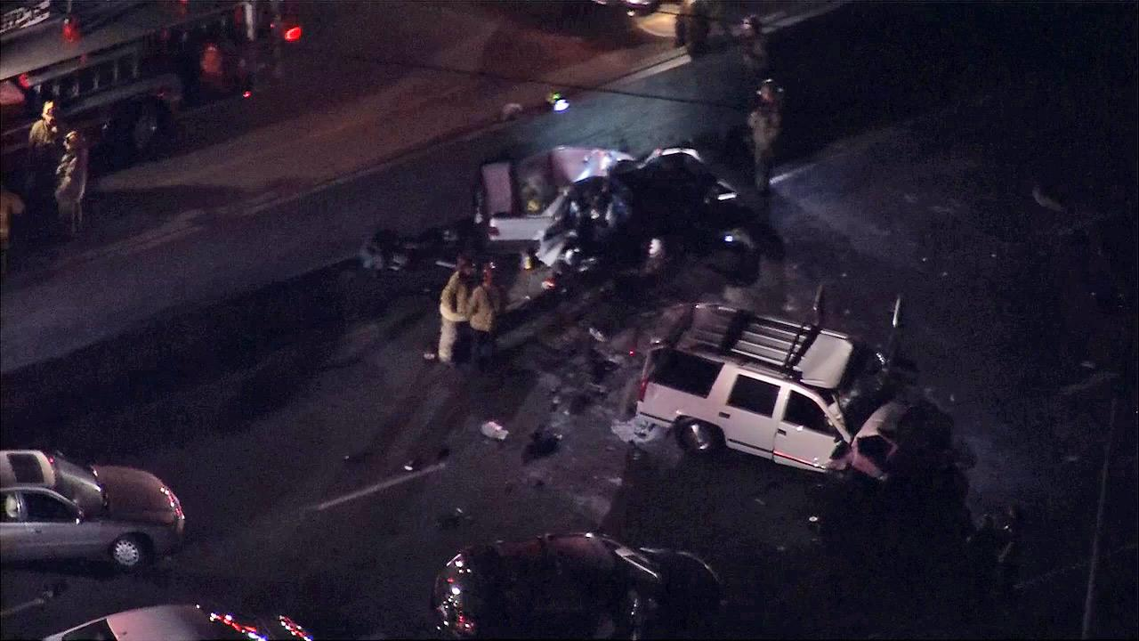 Vehicles are seen on the southbound 710 Freeway after a multi-vehicle crash left a motorcyclist dead and at least three others injured on Friday, Nov. 2, 2012.