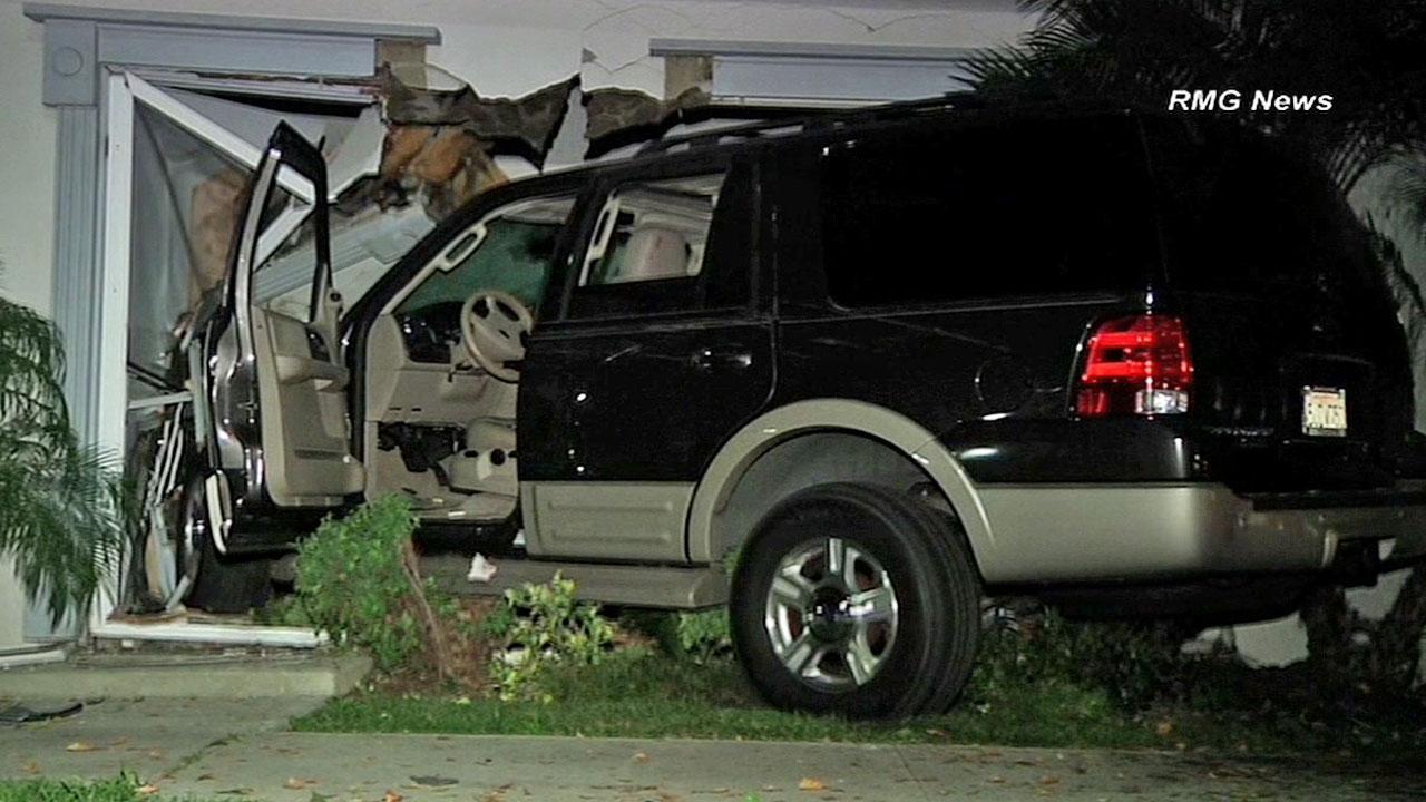 An SUV plowed through a condo in Chatsworth Saturday, Nov. 3, 2012.