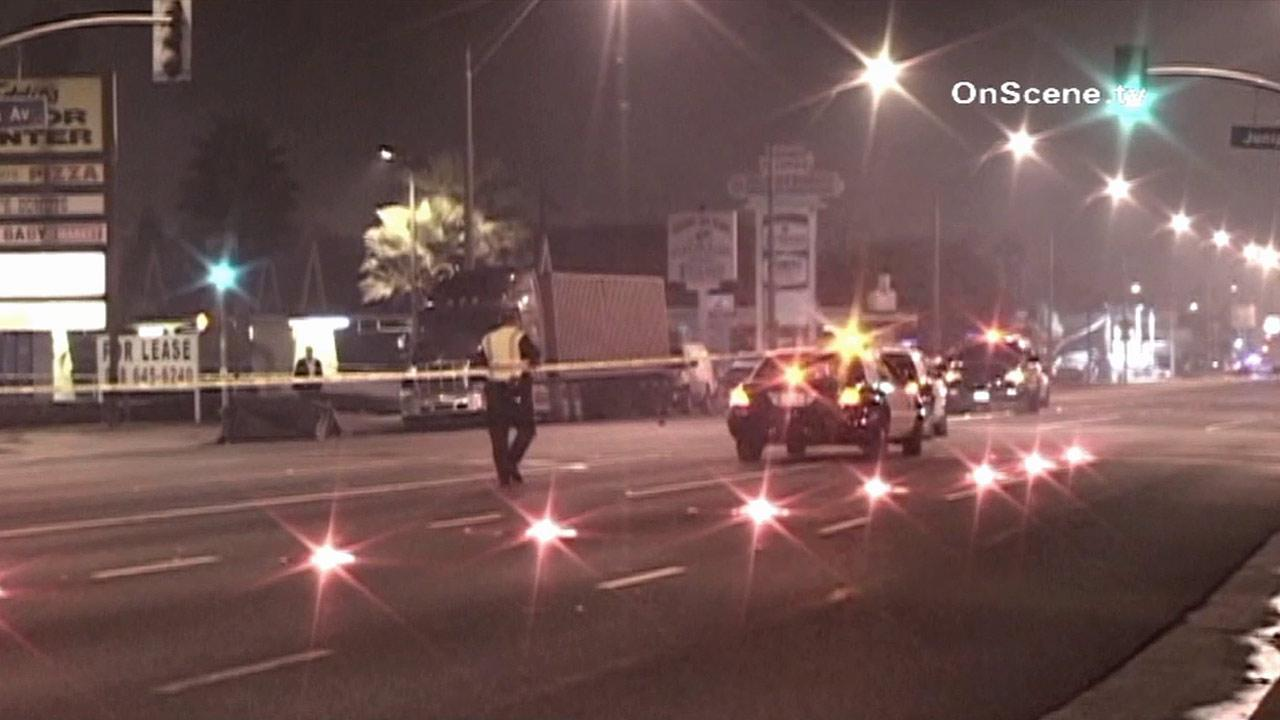 Police investigate a fatal hit-and-run accident in Long Beach on Sunday, Nov. 4, 2012.