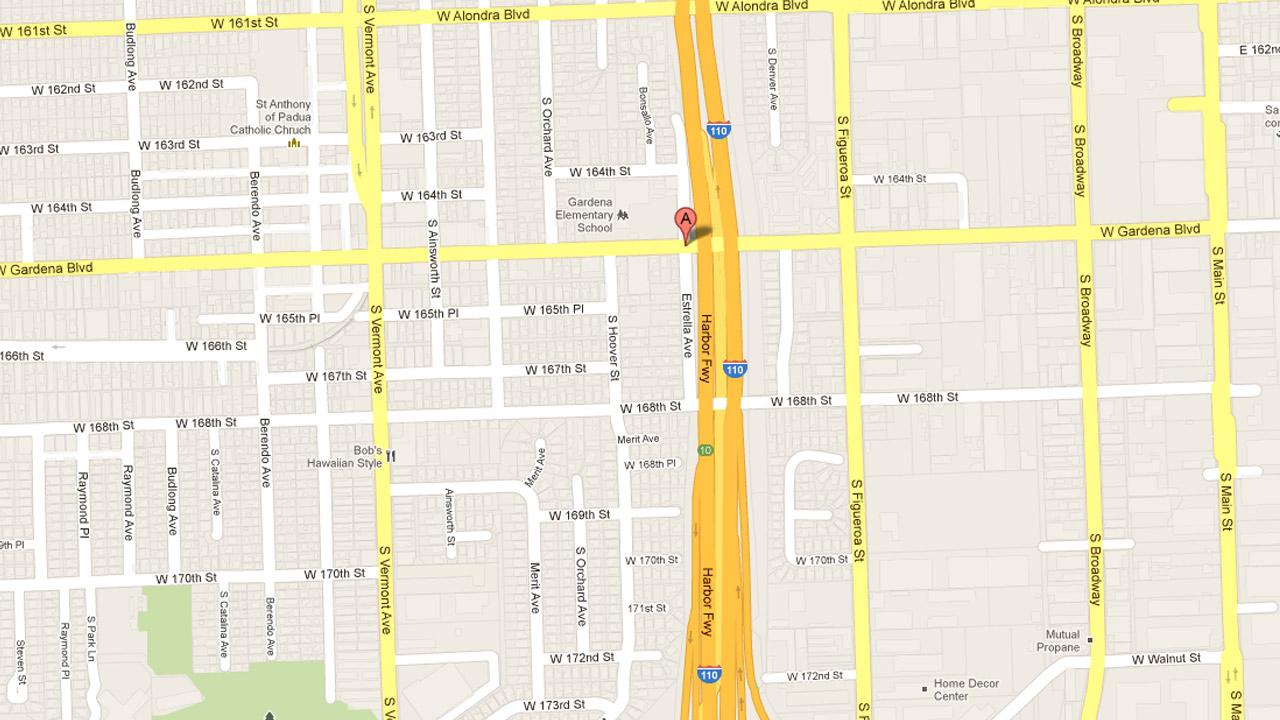 A map indicates the location of a drive-by shooting near Gardena Boulevard and Estrella Avenue in South Los Angeles on Wednesday, Nov. 7, 2012.