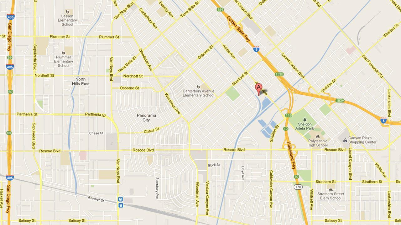 A map indicates the location of a house fire that injured five people in Sun Valley on Saturday, Nov. 10, 2012.