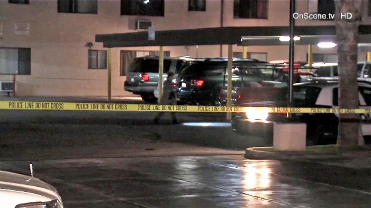 Police investigate a fatal shooting in San Fernando on Sunday, Nov. 11, 2012.