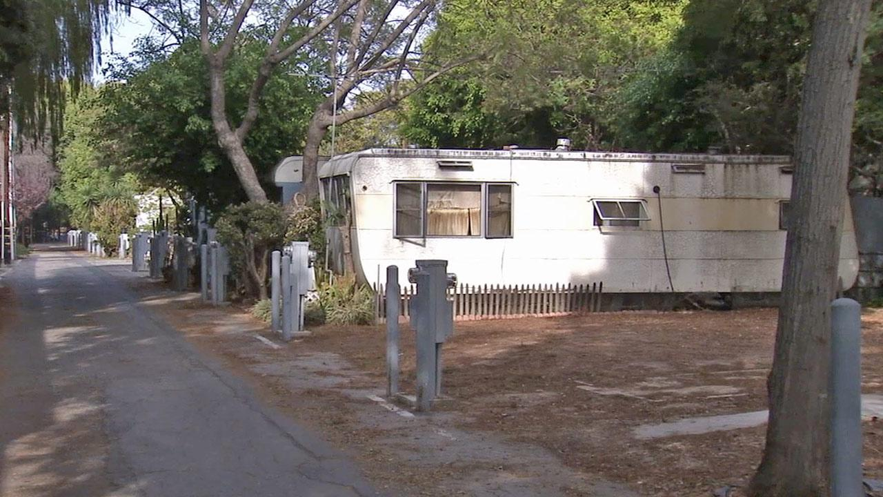 A mobile home in the Village Trailer Park in Santa Monica is shown in this undated file photo.