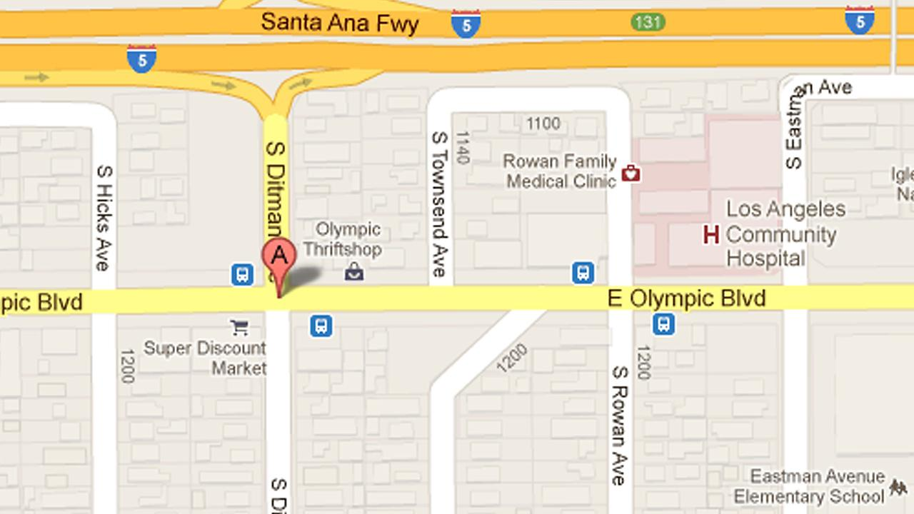A map shows the intersection of Olympic Boulevard and Ditman Avenue in East Los Angeles where deputies investigated a mans shooting death on Tuesday, Dec. 25, 2012.