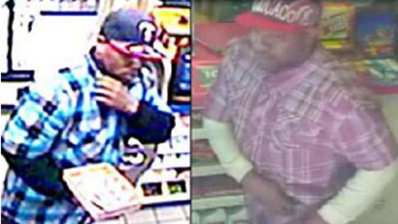 A surveillance camera caught images of an alleged robber in Burbank.