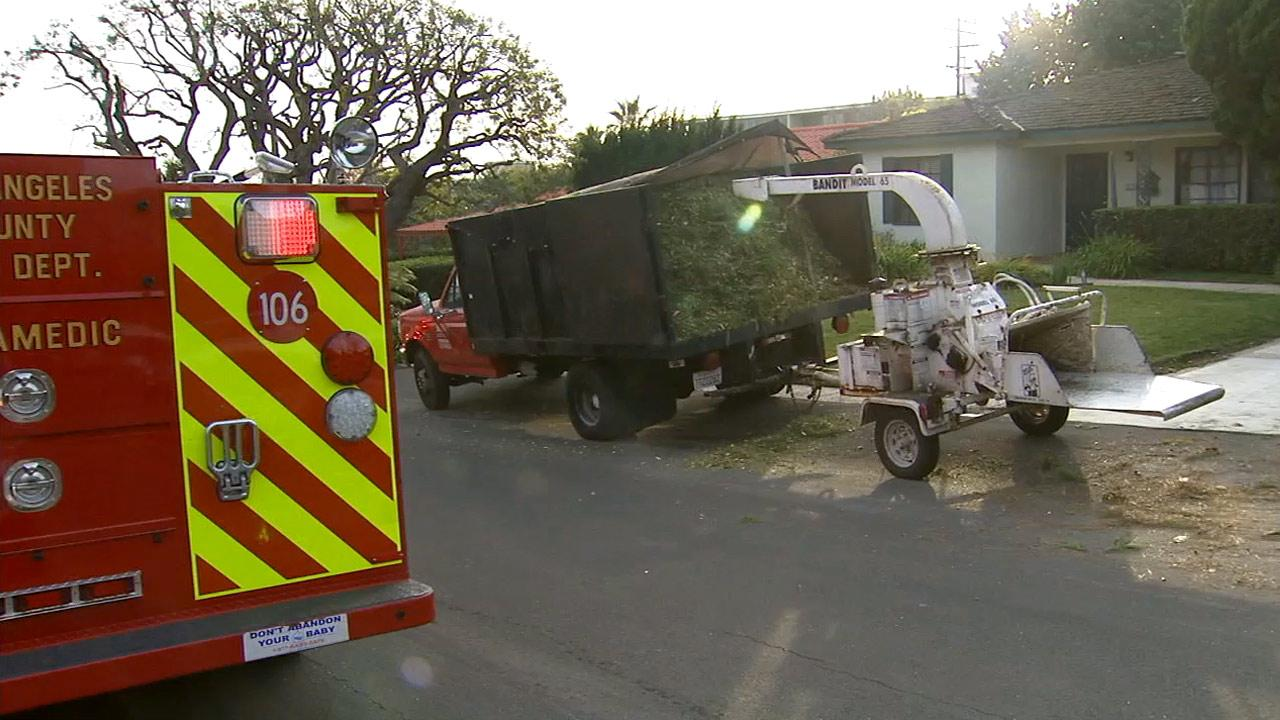 A man was electrocuted while trimming a tree in Rancho Palos Verdes on Saturday, Jan. 5, 2013.