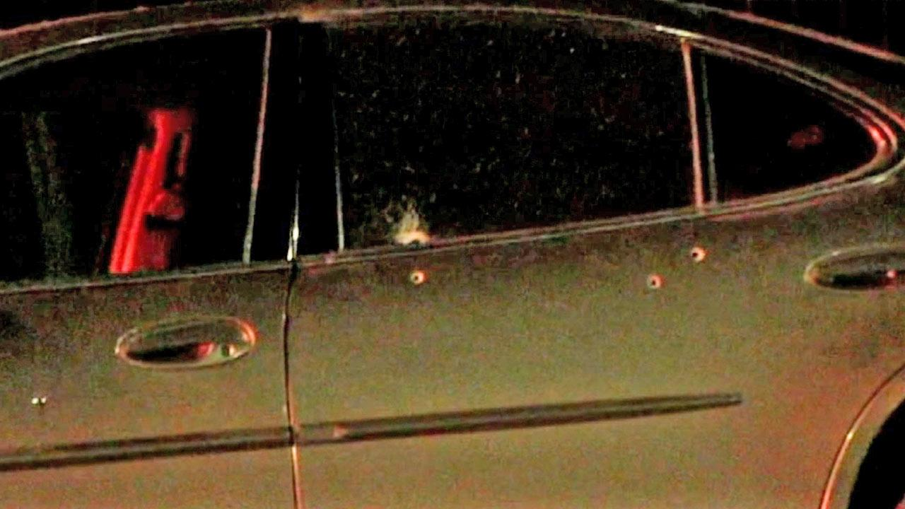 Two women were injured after a car-to-car shooting in South Los Angeles on Tuesday, Jan. 8, 2013. Bullet holes are shown in the victims car above.